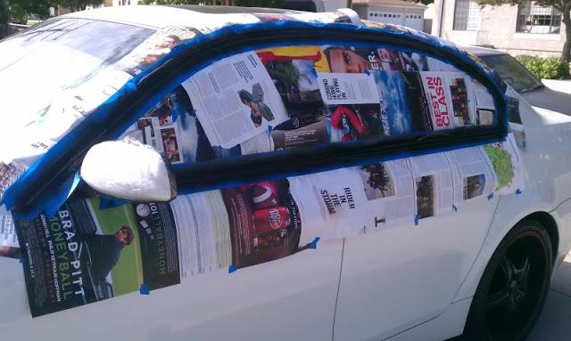 Оклейка газетами перед нанесением PLASTI DIP