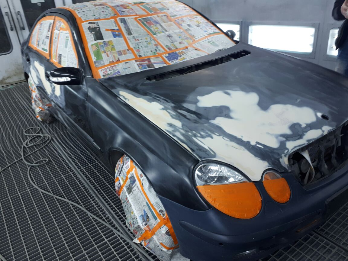 Покраска синим PLASTI DIP Flex Blue автомобиля Mercedes